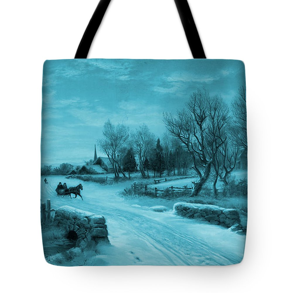 Christmas Tote Bag featuring the photograph Blue Retro Vintage Rural Winter Scene by John Stephens