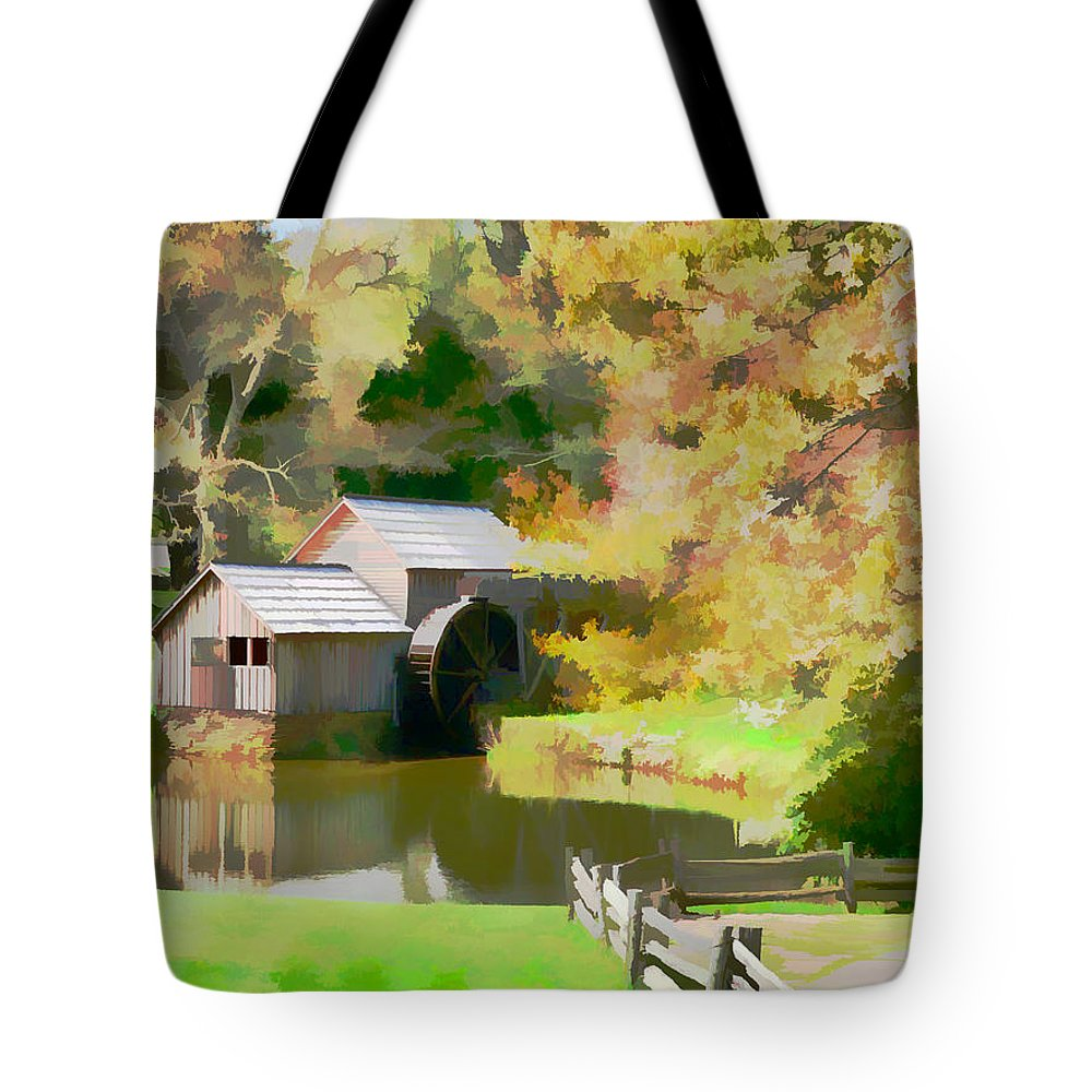 Blue Ridge Parkway Grist Mill Fall Scenic Tote Bag featuring the photograph Blue Ridge Grist Mill by Alice Gipson
