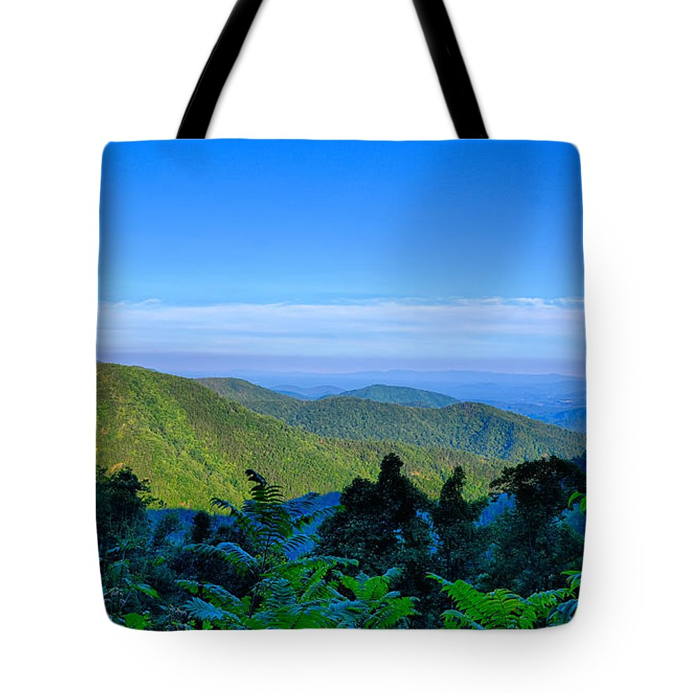 Mountains Tote Bag featuring the photograph Blue Ridge Parkway National Park Sunset Scenic Mountains Summer by Alex Grichenko