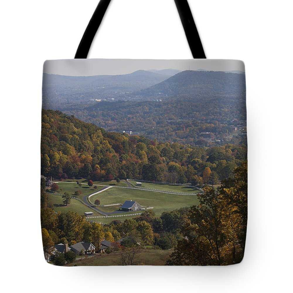 Fall Tote Bag featuring the photograph Blue Ridge View In Fall by Teresa Mucha