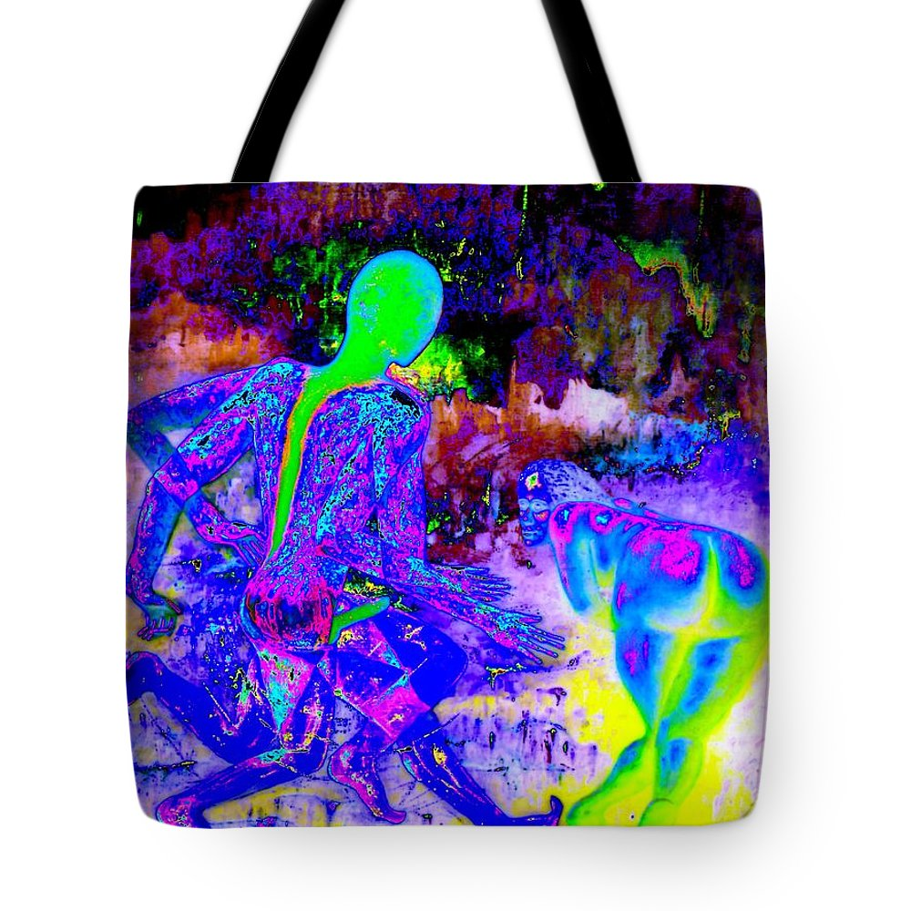 Genio Tote Bag featuring the mixed media Blue Rock 'n' Roll by Genio GgXpress