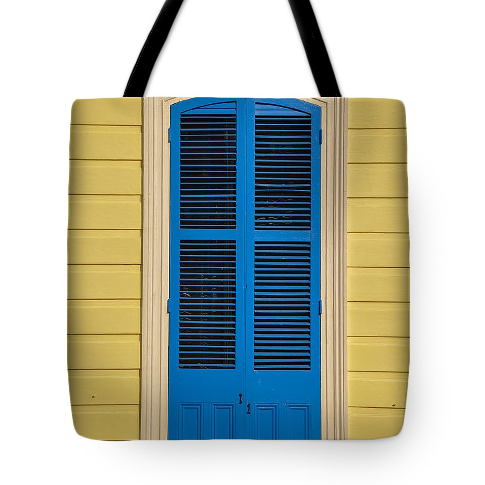 Blue Tote Bag featuring the photograph Blue Shutter Door - New Orleans by Bill Cannon