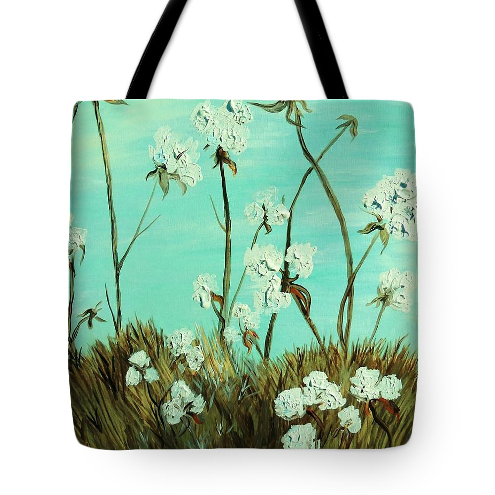 Blue Tote Bag featuring the painting Blue Skies Over Cotton by Eloise Schneider Mote