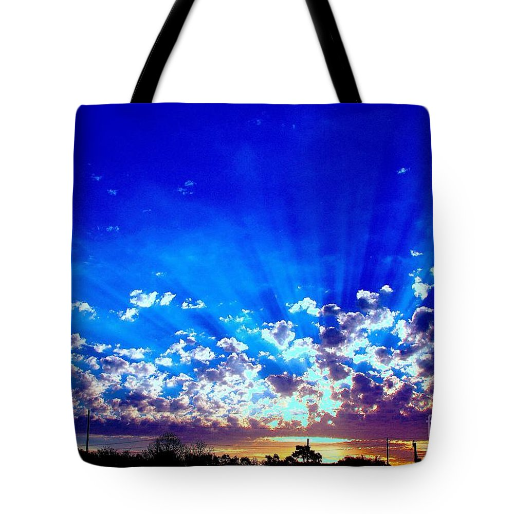 The Blue Sky Shines As Does The Bright Morning Sun. Sunscape Tote Bag featuring the digital art Blue Sky Shine by L L L