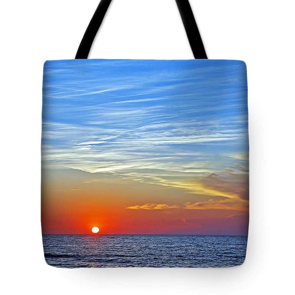 Sunset Tote Bag featuring the photograph Blue Sky Sunset by Aimee L Maher ALM GALLERY