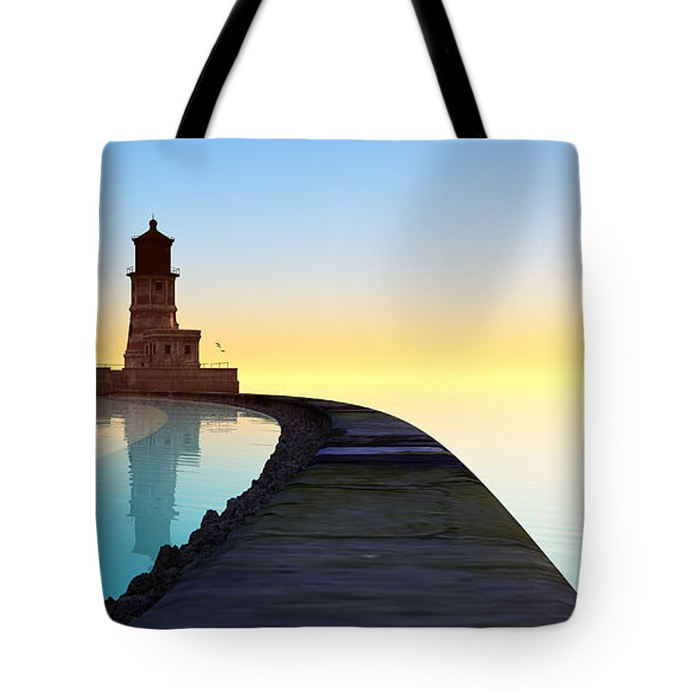 Seascape Tote Bag featuring the digital art Blue Smooth by Tim Fillingim