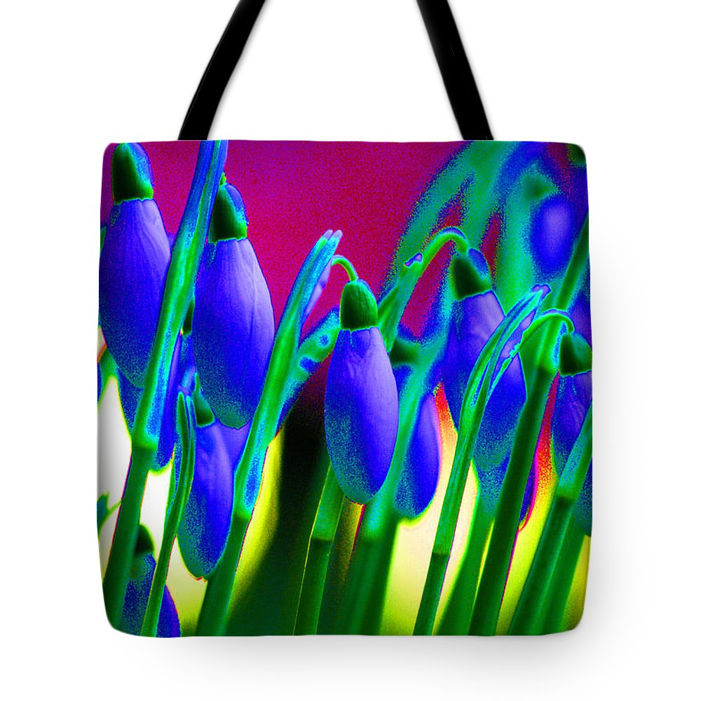 Blue Tote Bag featuring the digital art Blue Snowdrops by Carol Lynch