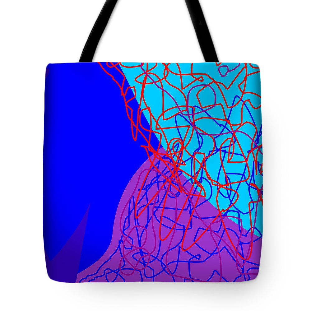 Square Tote Bag featuring the mixed media Blue Spice Morsel 2 by  Eyauuk