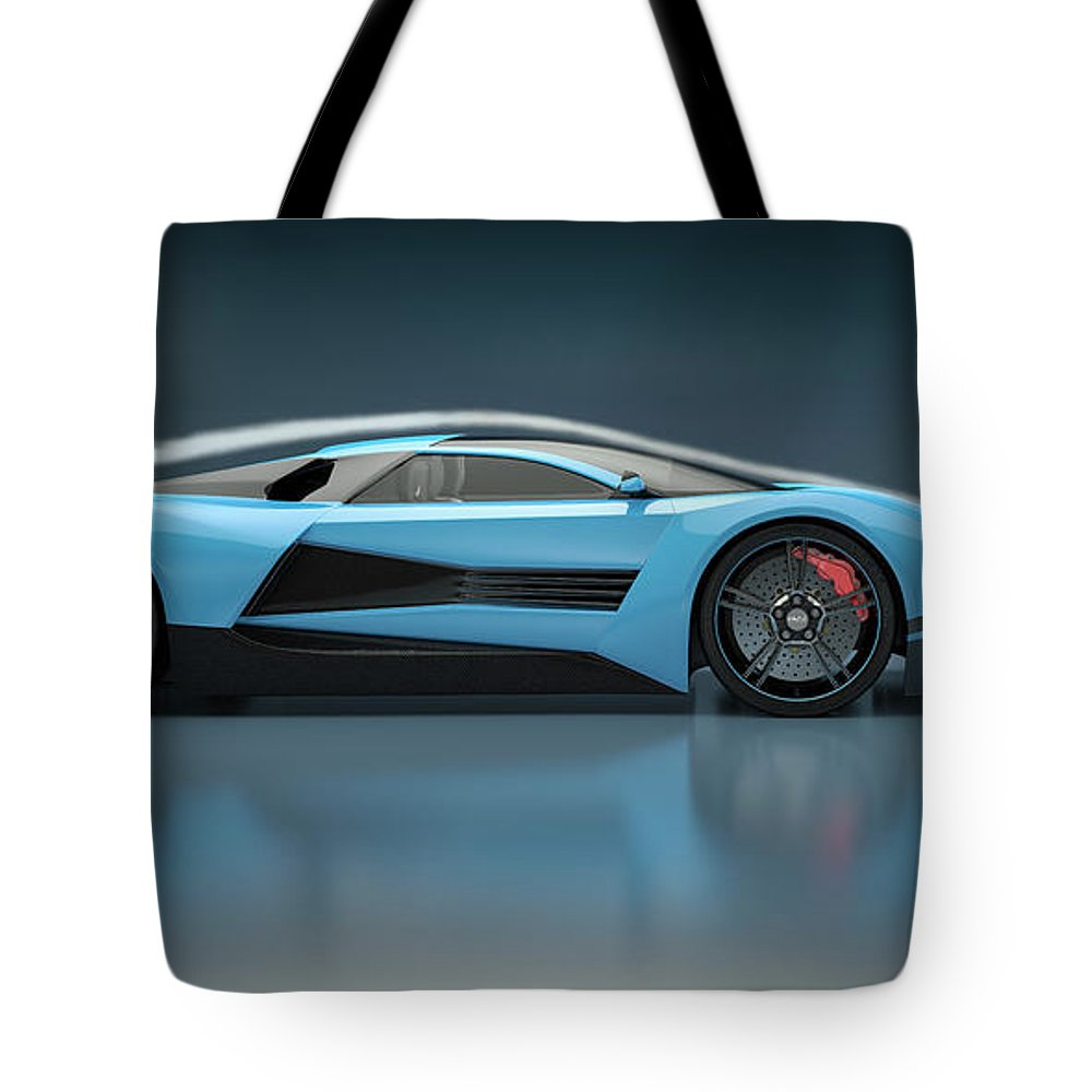 Aerodynamic Tote Bag featuring the photograph Blue Sports Car In A Wind Tunnel by Mevans