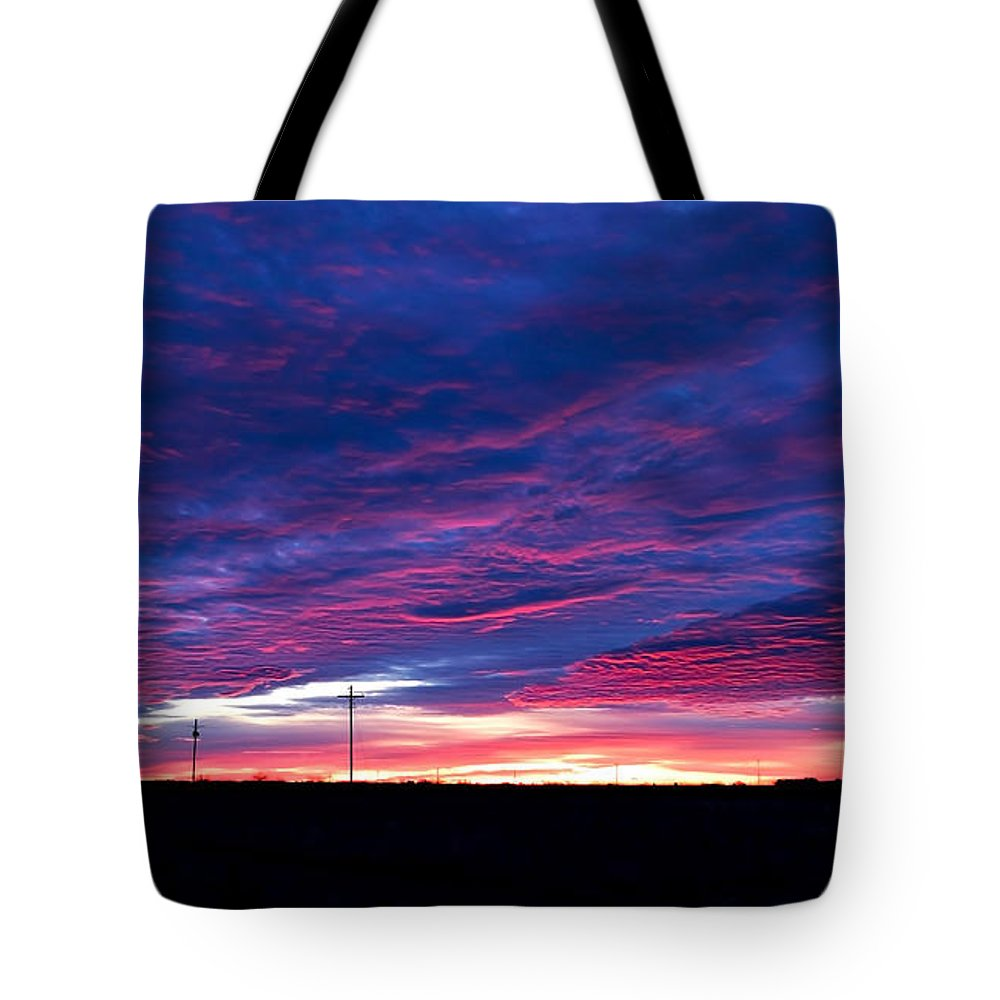 Sunrise Tote Bag featuring the photograph Blue Sunrise In West Texas by Mark McKinney