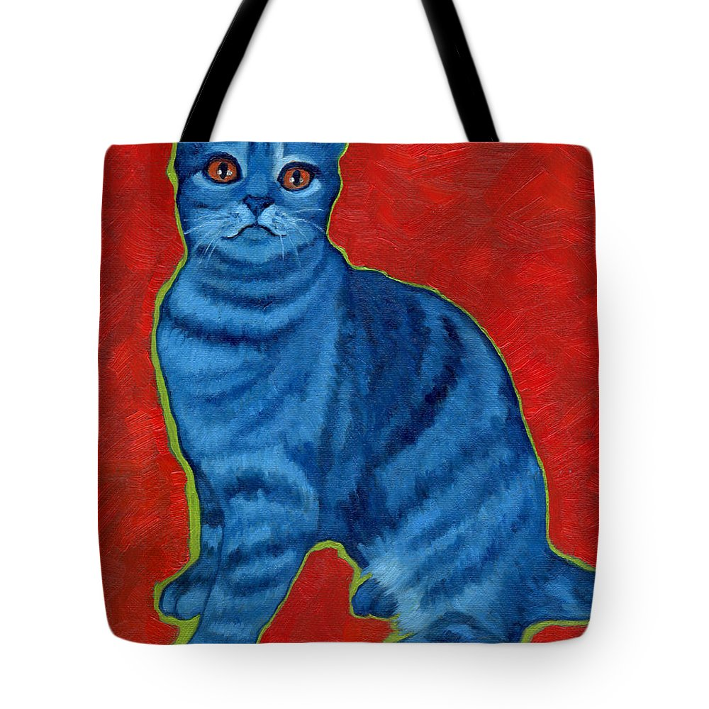 Tabby Tote Bag featuring the painting Blue Tabby by Rebecca Ives
