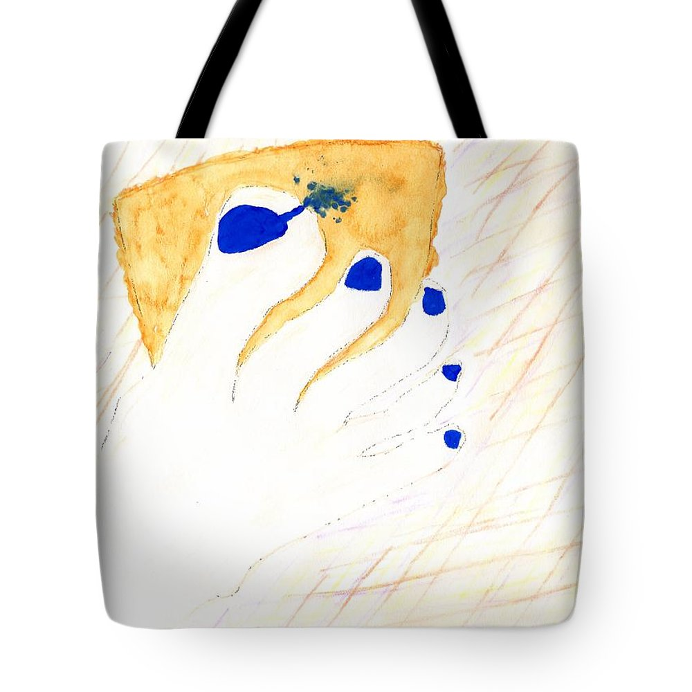 Jim Taylor Tote Bag featuring the painting Blue The Big Toe by Jim Taylor