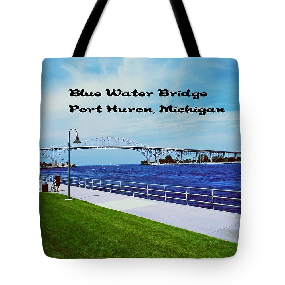 Michigan Tote Bag featuring the photograph Blue Water Bridge by Gary Wonning