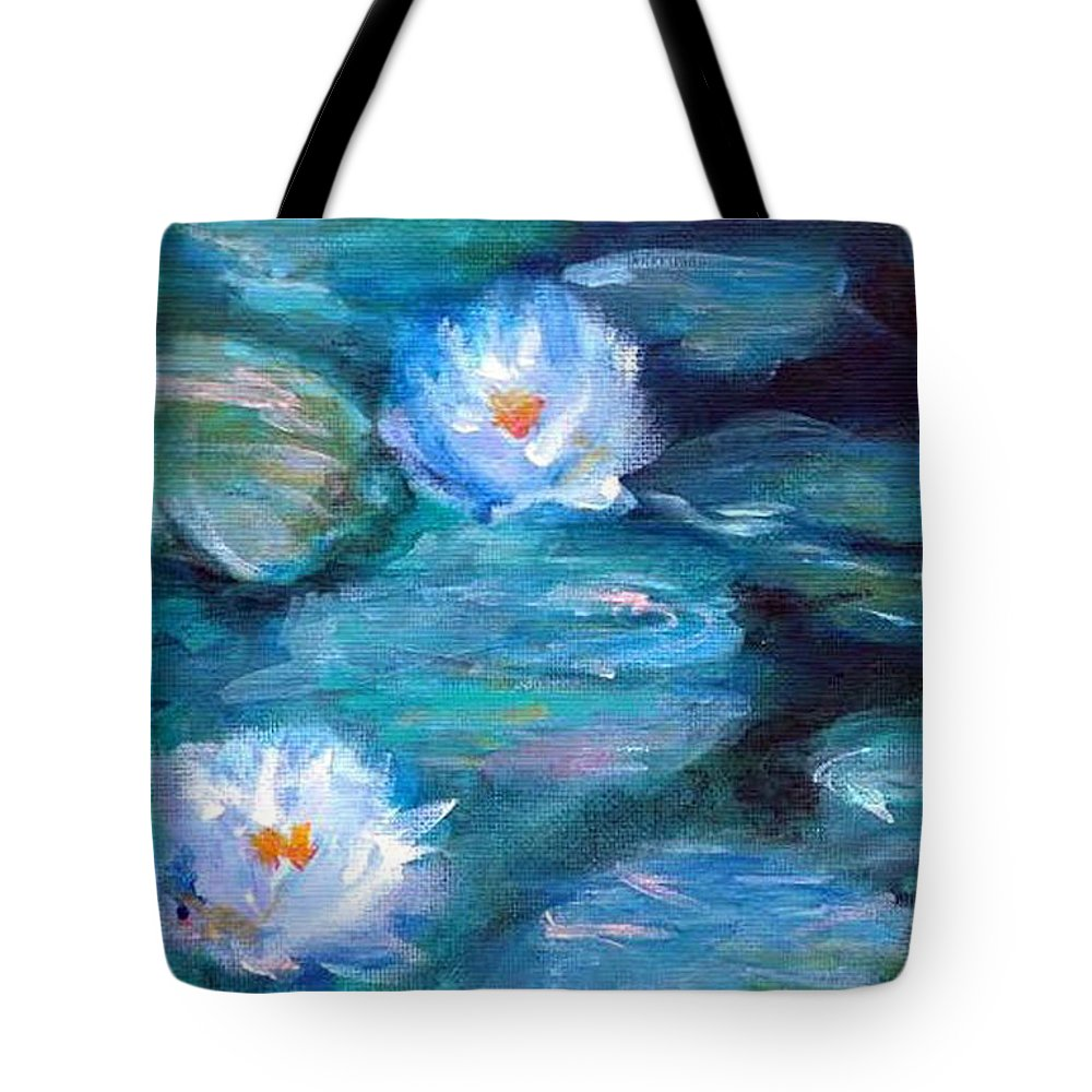 Blue Tote Bag featuring the painting Blue Water Lilies by Lauren Heller