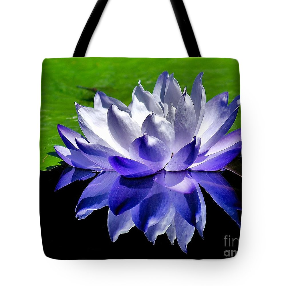 Aquatic Tote Bag featuring the photograph Blue Water Lily Reflection by Nick Zelinsky