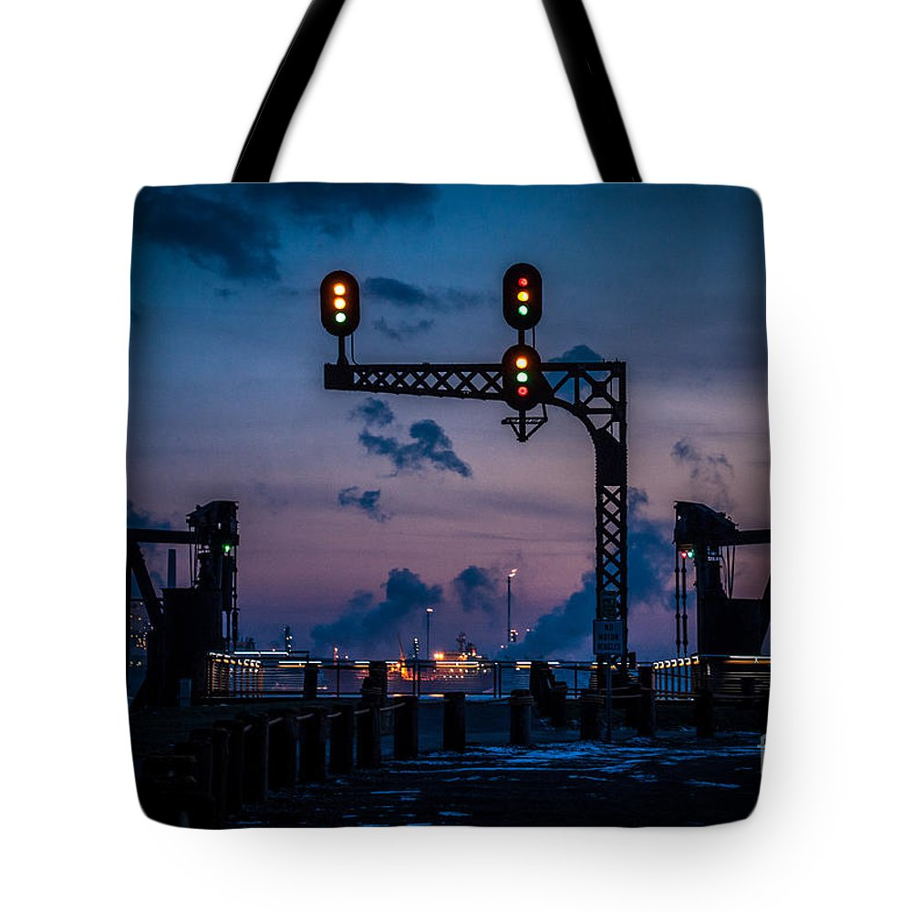 River Walk Tote Bag featuring the photograph Blue Water River Walk At Dusk by Ronald Grogan