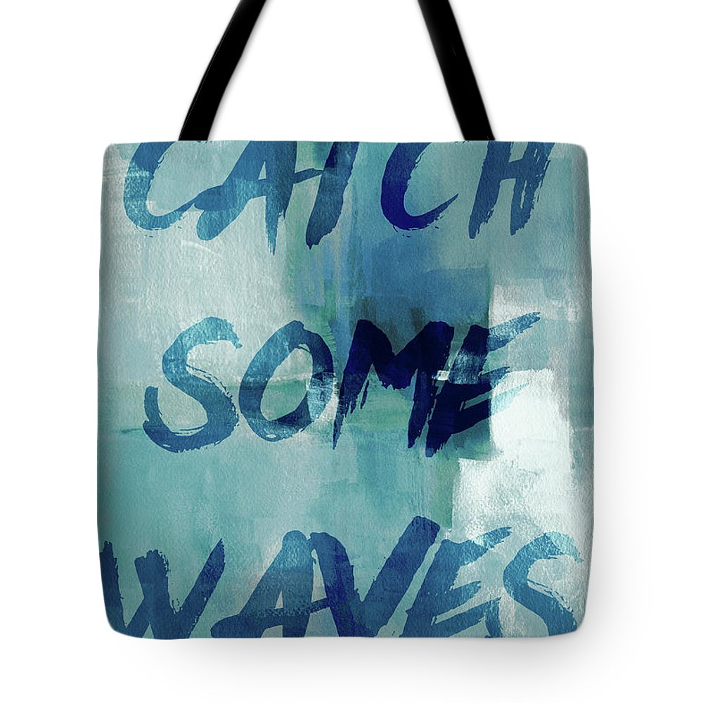 Blue Tote Bag featuring the painting Blue Waves I by Lanie Loreth