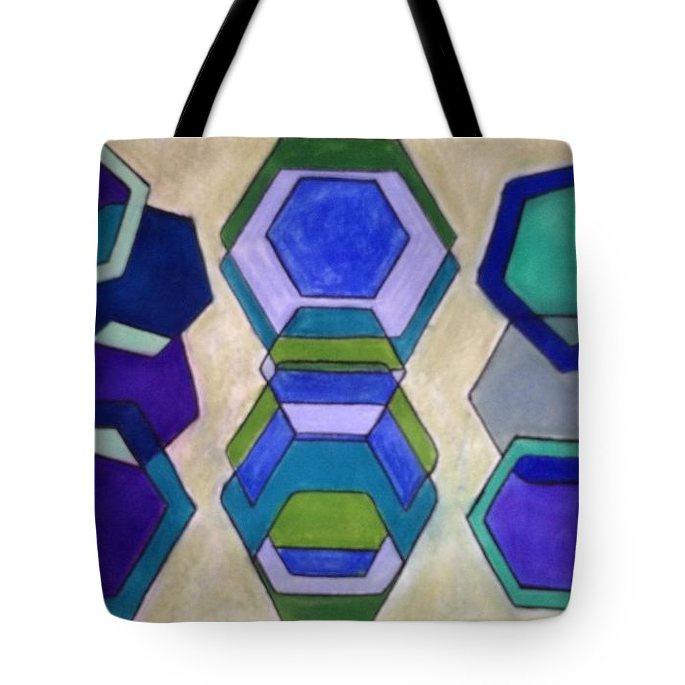Abstract Tote Bag featuring the pastel Blue Who by Judy Gerstner