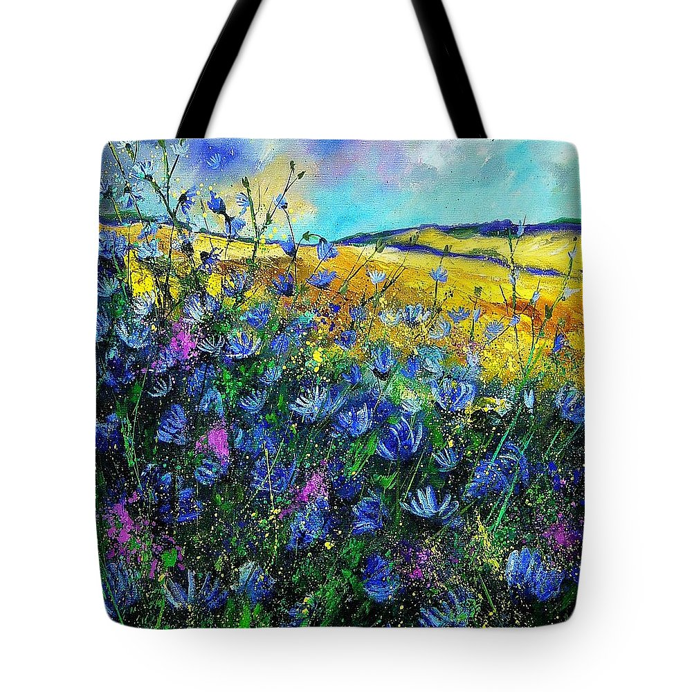 Flowers Tote Bag featuring the painting Blue Wild Chicorees by Pol Ledent