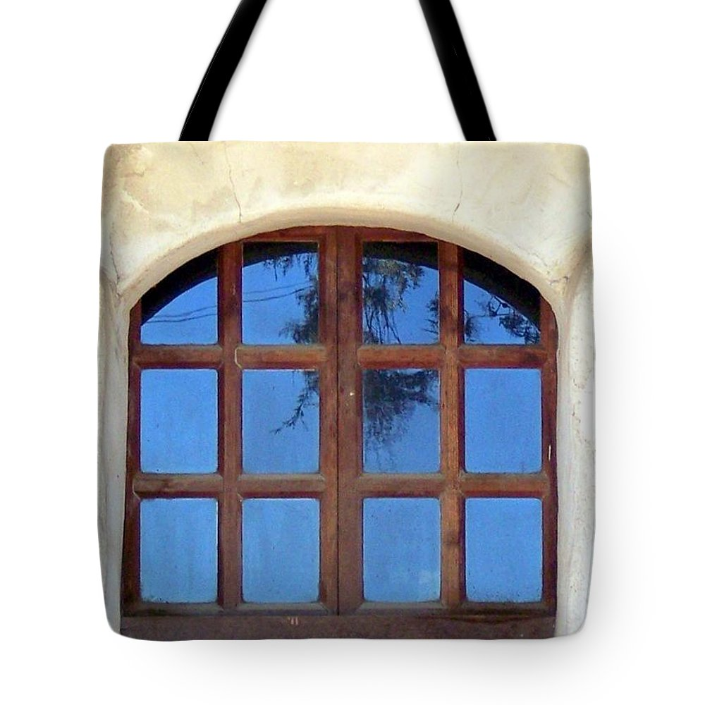 Missions Tote Bag featuring the photograph Blue Window San Miguel by Kimberly-Ann Talbert