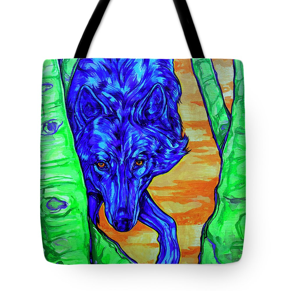 Wolf Tote Bag featuring the painting Blue Wolf by Derrick Higgins