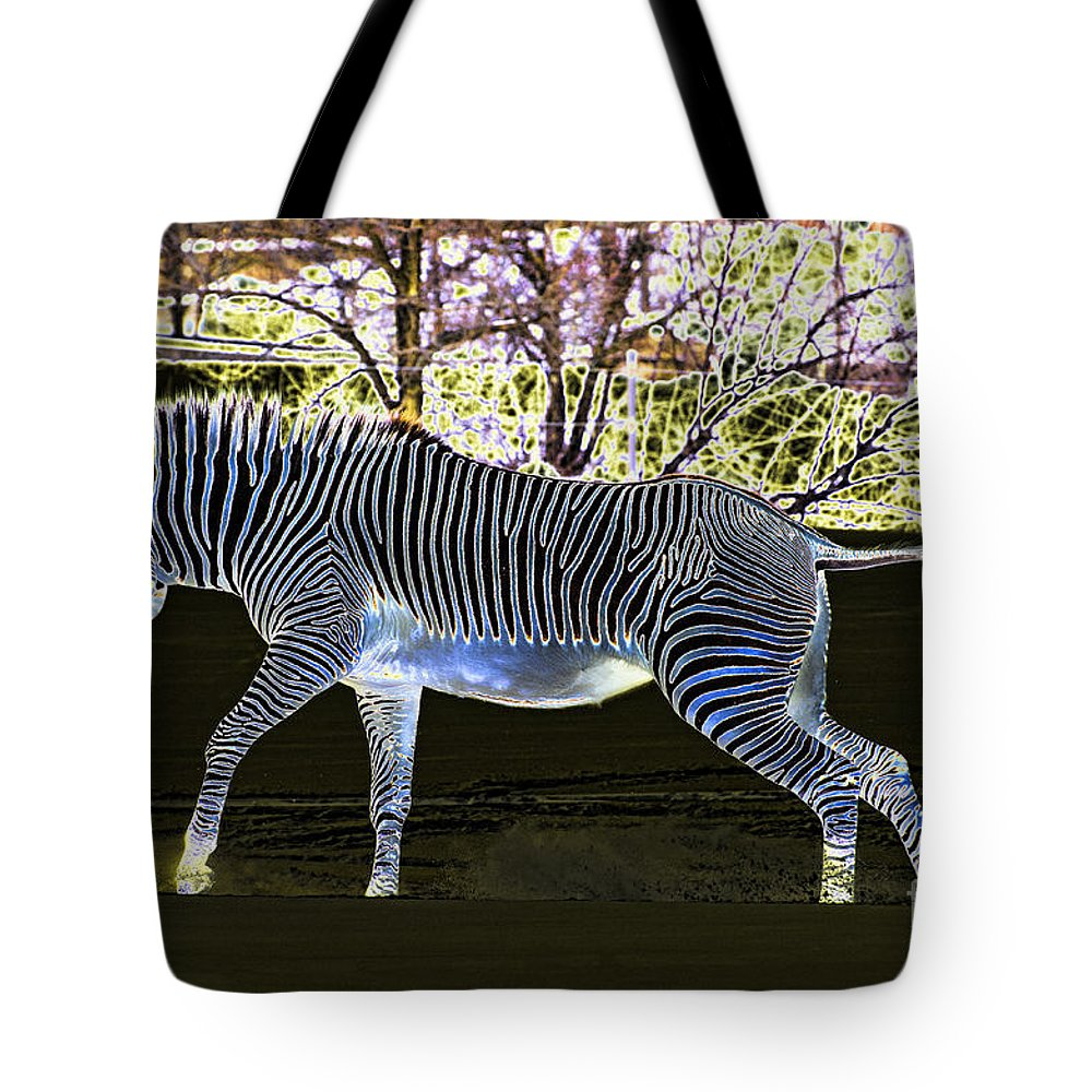 Zebra Tote Bag featuring the photograph Blue Zebra by Les Palenik