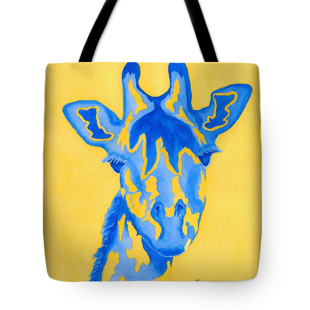 Giraffe Tote Bag featuring the painting Bluebelle by Rhonda Leonard