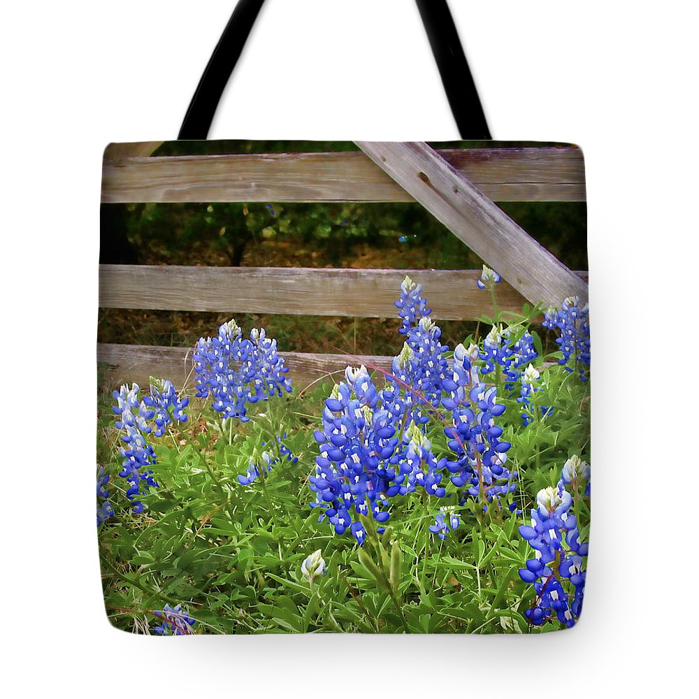 Bloom Tote Bag featuring the photograph Bluebonnet Gate by David and Carol Kelly