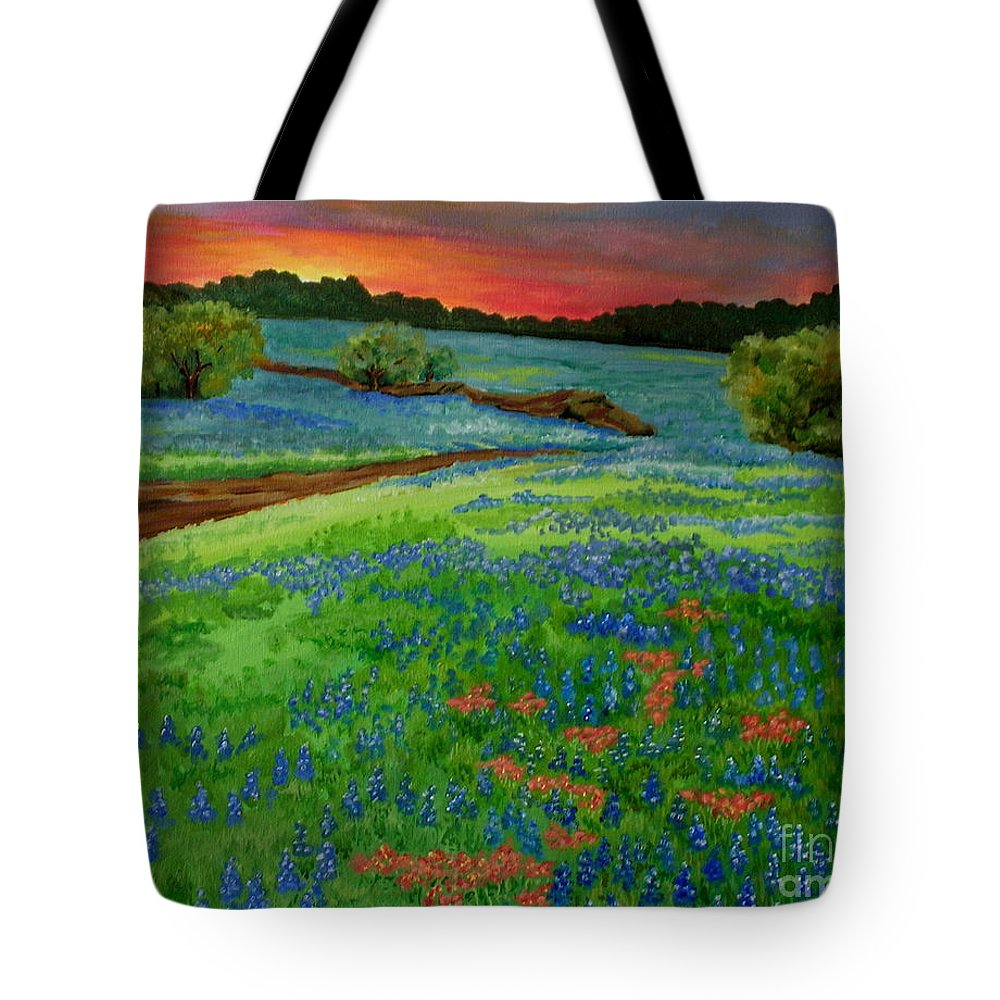 Landscape With Bluebonnets Tote Bag featuring the painting Bluebonnet Sunset by Genie Morgan