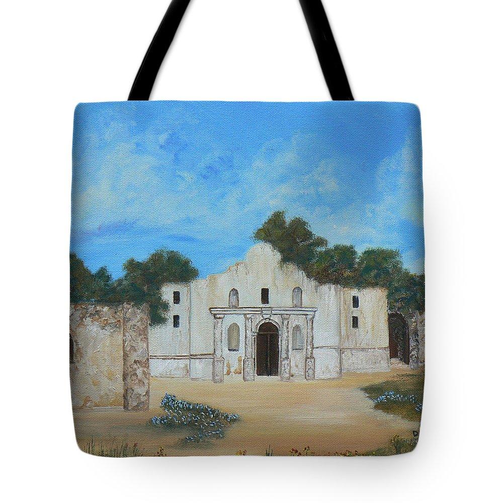 The Alamo. Bluebonnets. Landscape Tote Bag featuring the painting Bluebonnets At The Alamo by Cheryl Damschen
