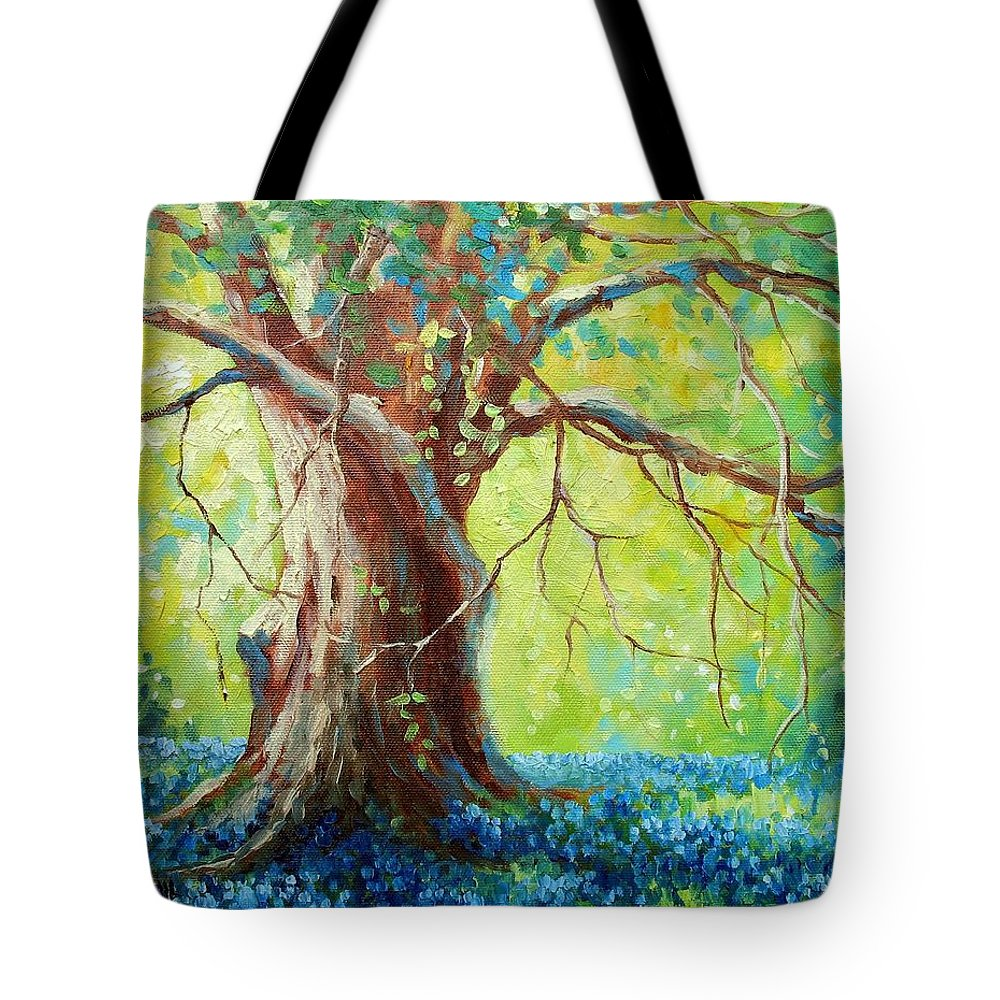 Bluebonnets Tote Bag featuring the painting Bluebonnets Under The Oak by David G Paul
