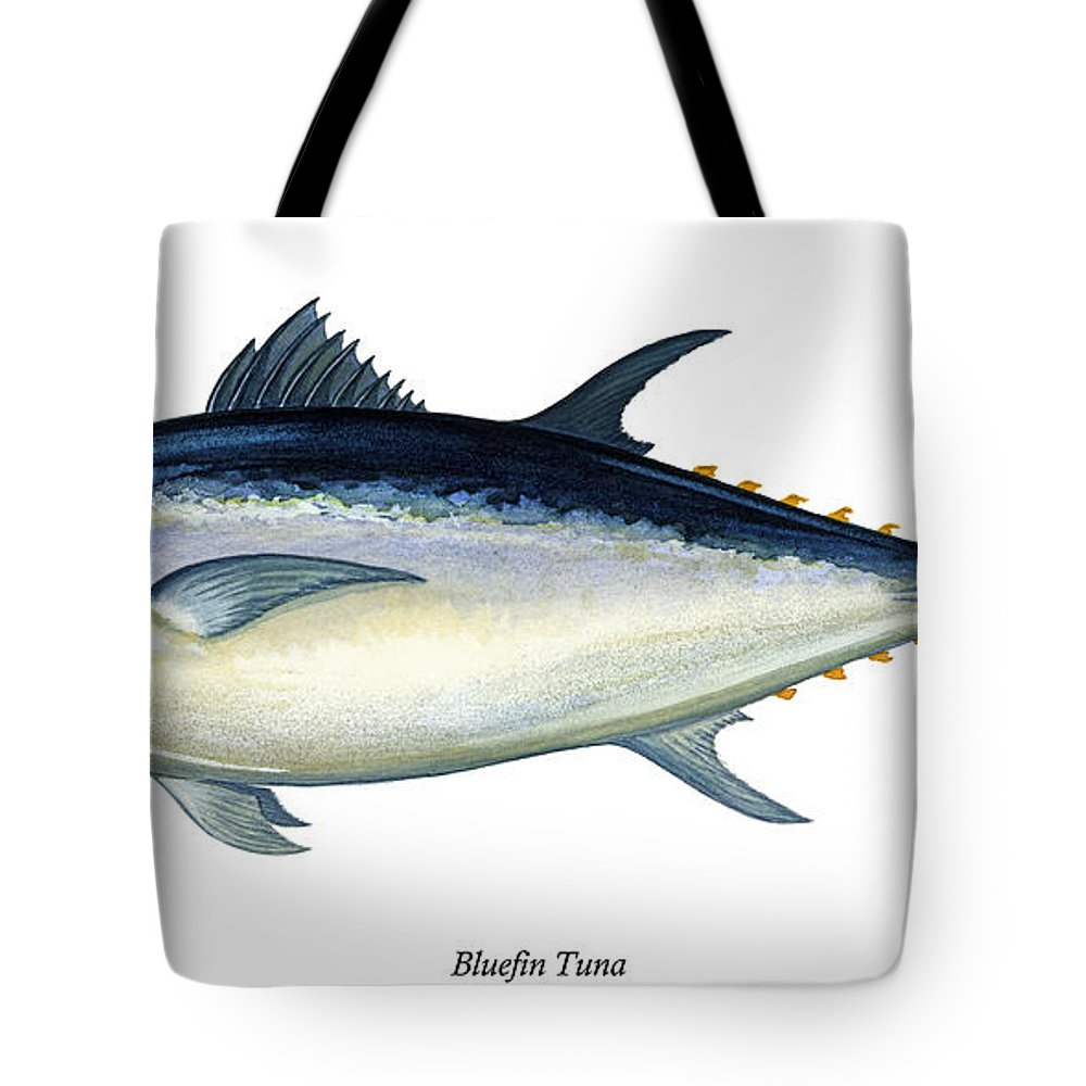 Charles Tote Bag featuring the painting Bluefin Tuna by Charles Harden