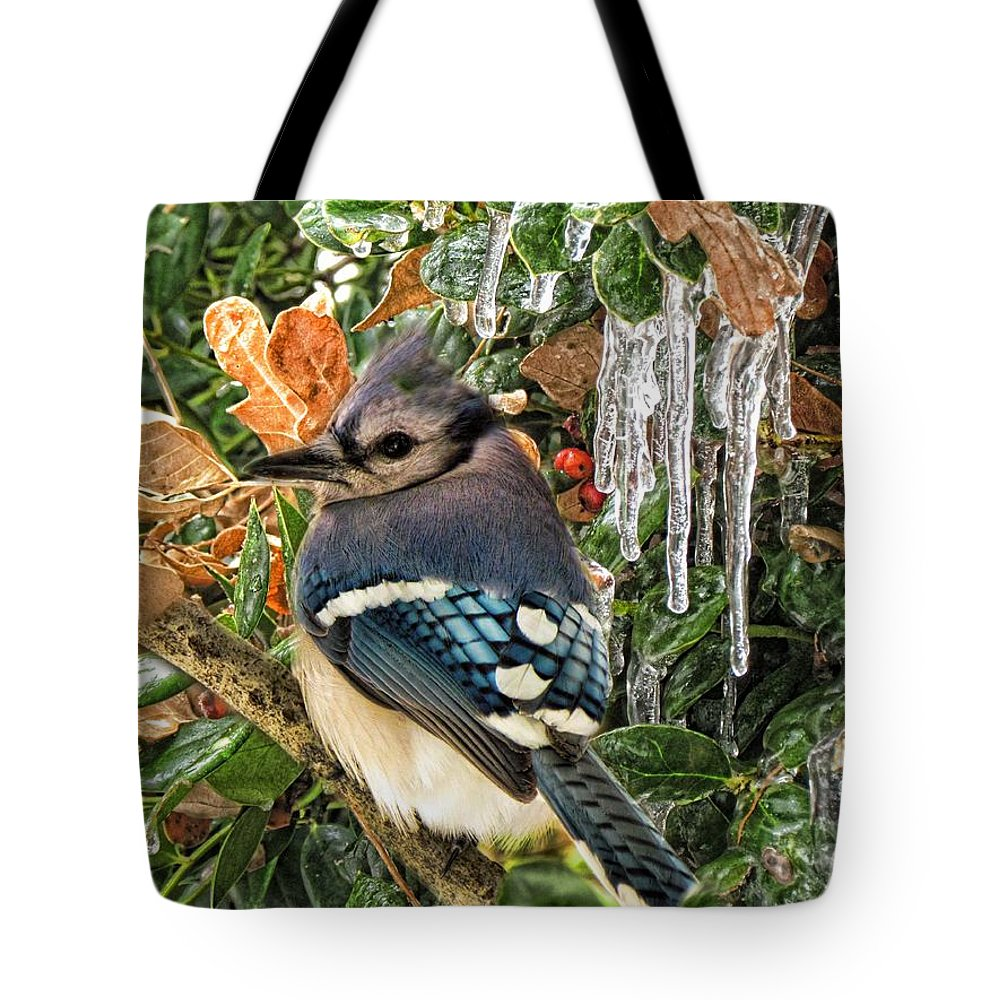 Bluejay Tote Bag featuring the photograph Bluejay And Ice by Shannon Story