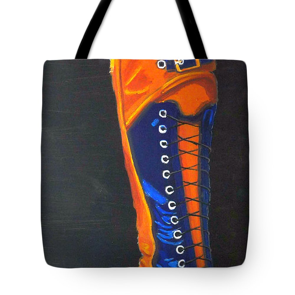 Blue Tote Bag featuring the painting Blus And Gold Boot by Richard Le Page