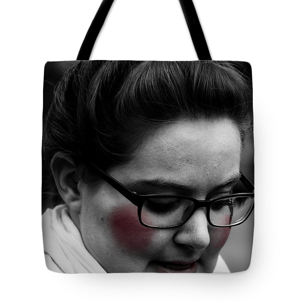 Street Photography Tote Bag featuring the photograph Blushing by The Artist Project
