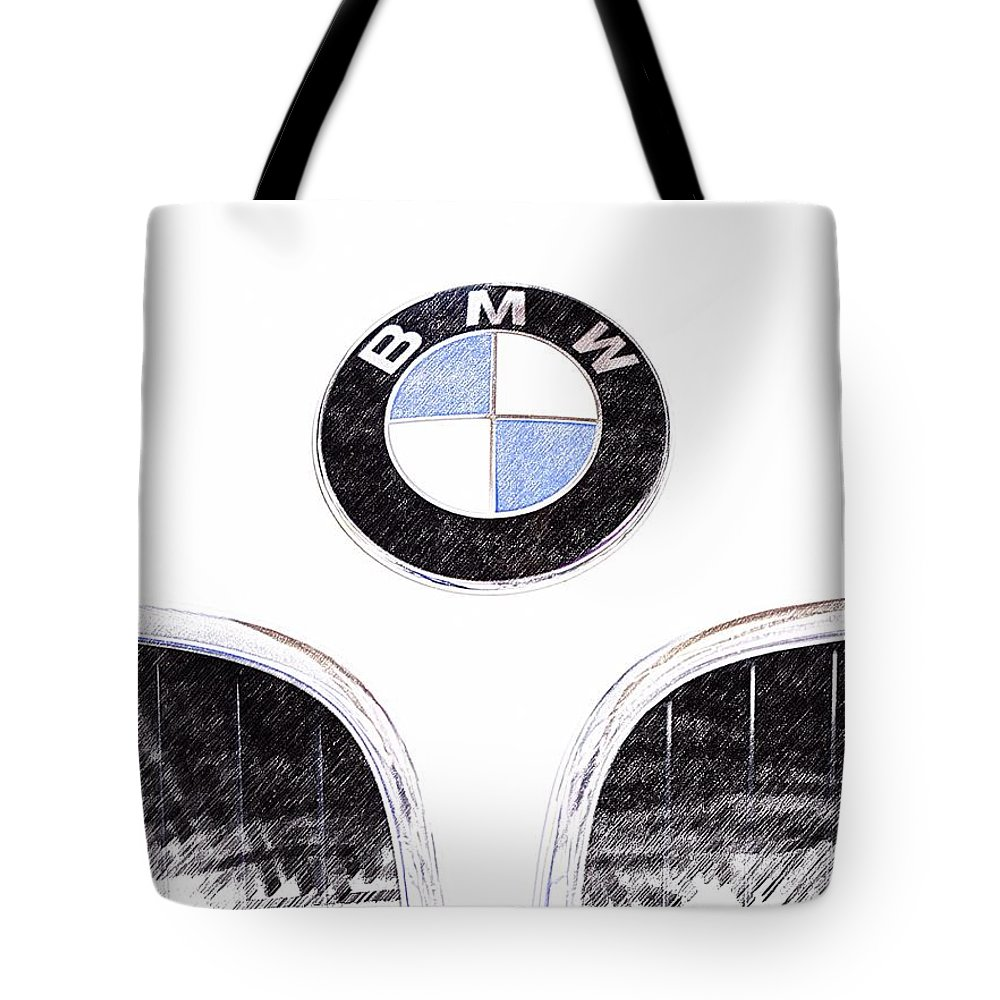 Bmw Emblem Photographs Tote Bag featuring the photograph Bmw Z3 Emblem Sketch by Brooke Roby