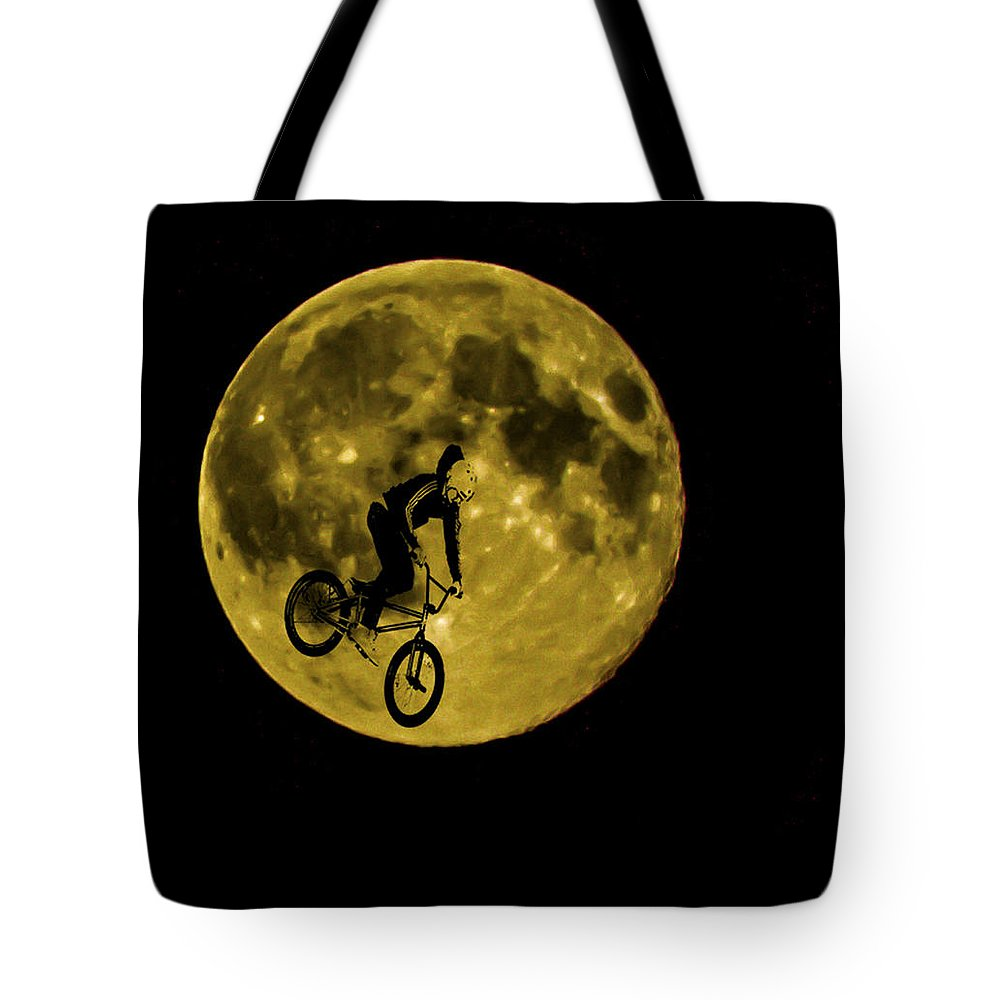 Moon Tote Bag featuring the photograph Bmx Moon by Dawn OConnor