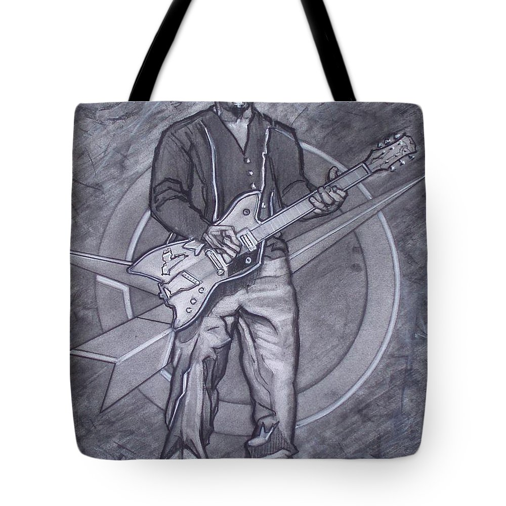 Texas;charcoal;king Of Rock;rock And Roll;music;1950s;blues;musician;funk;electric Guitar;marble;soul Tote Bag featuring the drawing Bo Diddley - Have Guitar Will Travel by Sean Connolly