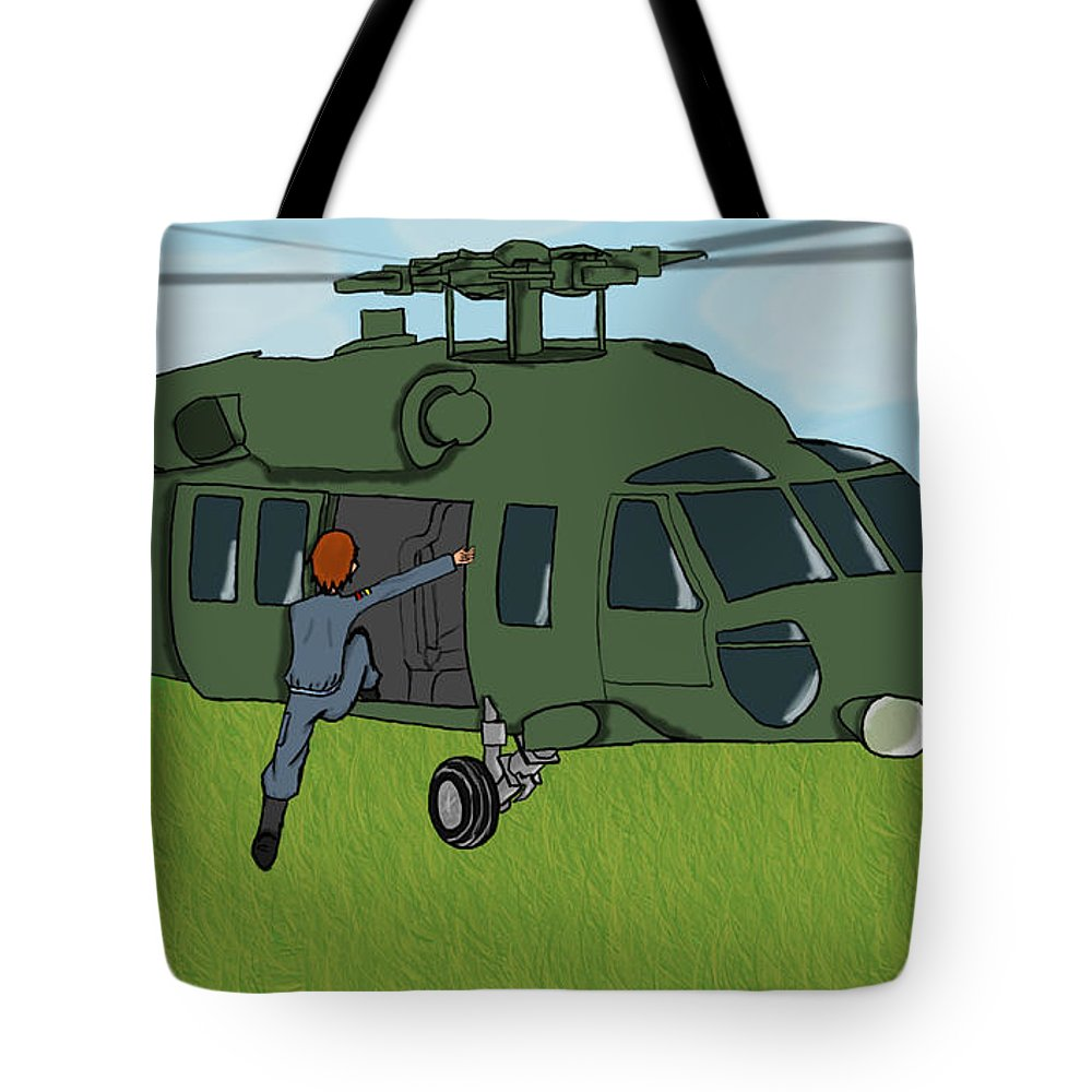 Helicopter Tote Bag featuring the digital art Boarding A Helicopter by Yael Rosen