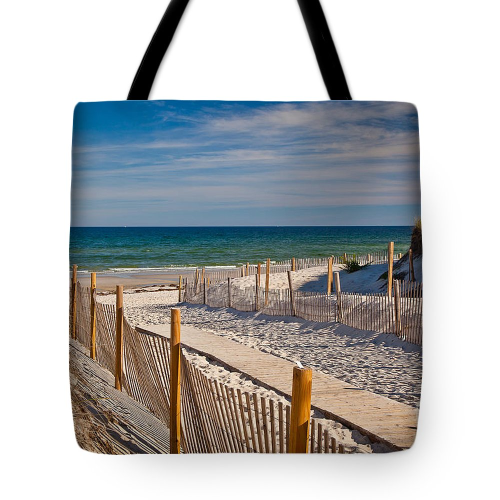 America Tote Bag featuring the photograph Boardwalk To Cape Cod Bay by Susan Cole Kelly