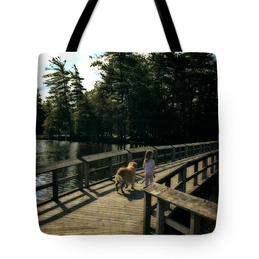 Golden Retrievers Tote Bag featuring the photograph Boardwalking by Michelle Calkins