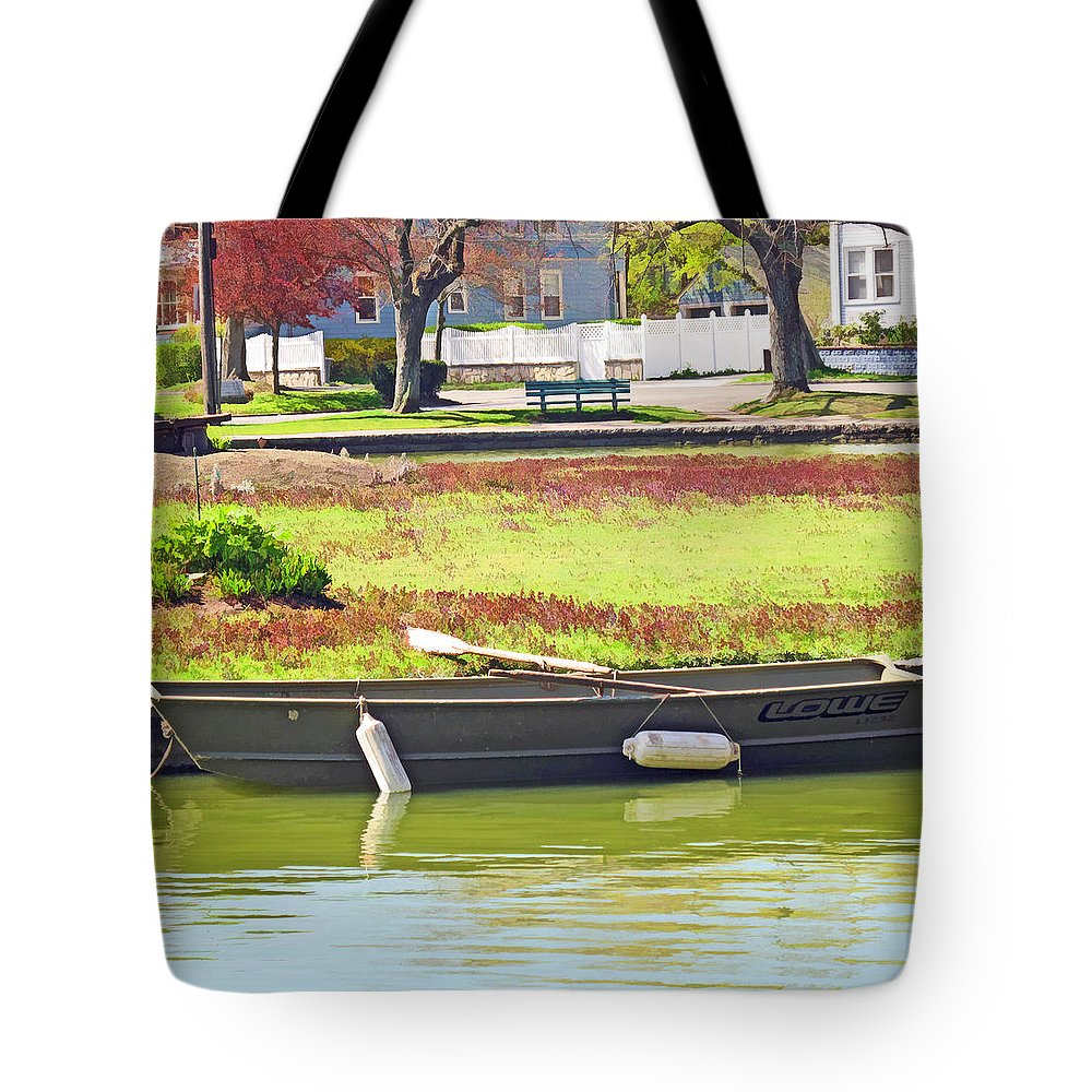 Boat Tote Bag featuring the digital art Boat At The Pond by Barbara McDevitt