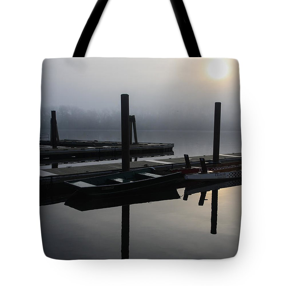 Boat Dock Sunrise Tote Bag featuring the photograph Boat Dock Sunrise 2 by Gregory Alan