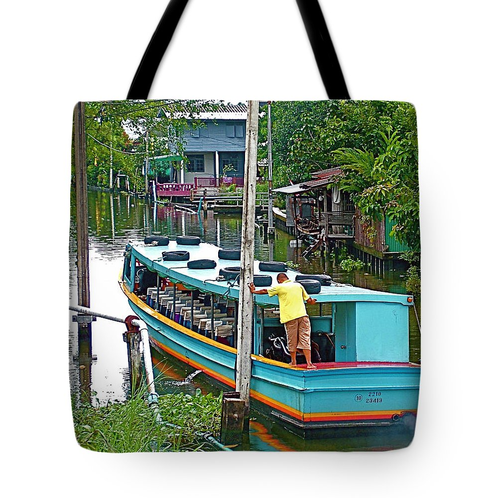 Boat For Transportation On Canals In Bangkok Tote Bag featuring the photograph Boat For Transportation On Canals In Bangkok-thailand by Ruth Hager
