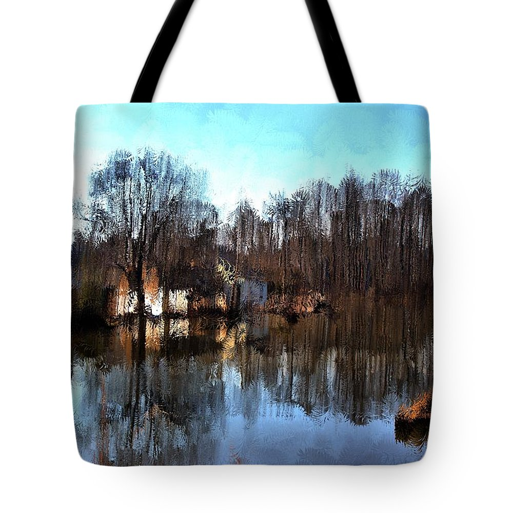Landscape Tote Bag featuring the mixed media Boat House 2 by Terence Morrissey