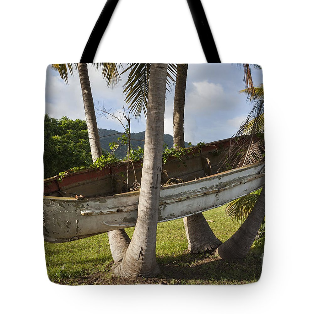 Bad Condition Tote Bag featuring the photograph Boat In A Tree Puerto Rico by Bryan Mullennix