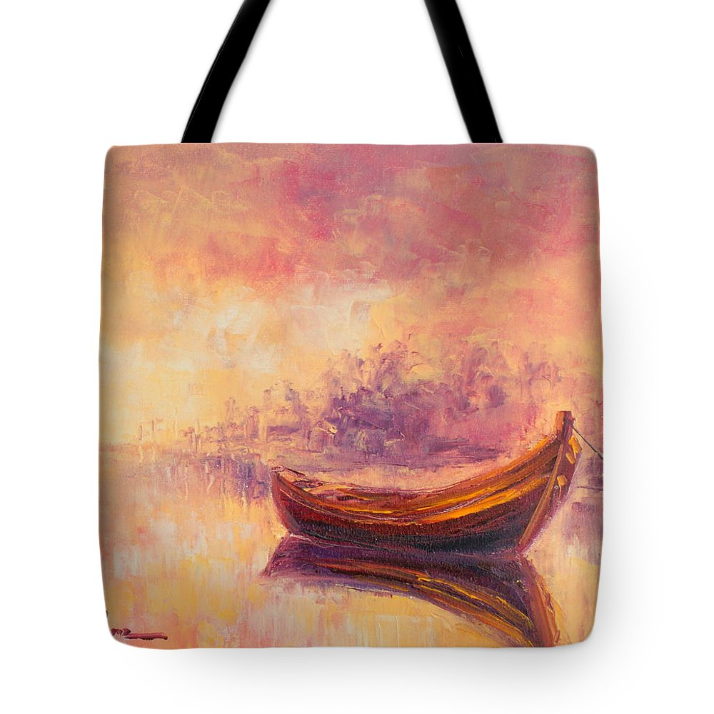 Boat Tote Bag featuring the painting Boat by Luke Karcz