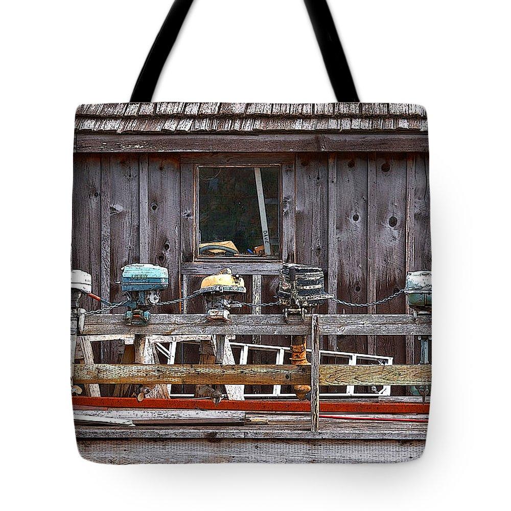 Dan Sabin Tote Bag featuring the photograph Boat Motors Going Nowhere by Dan Sabin