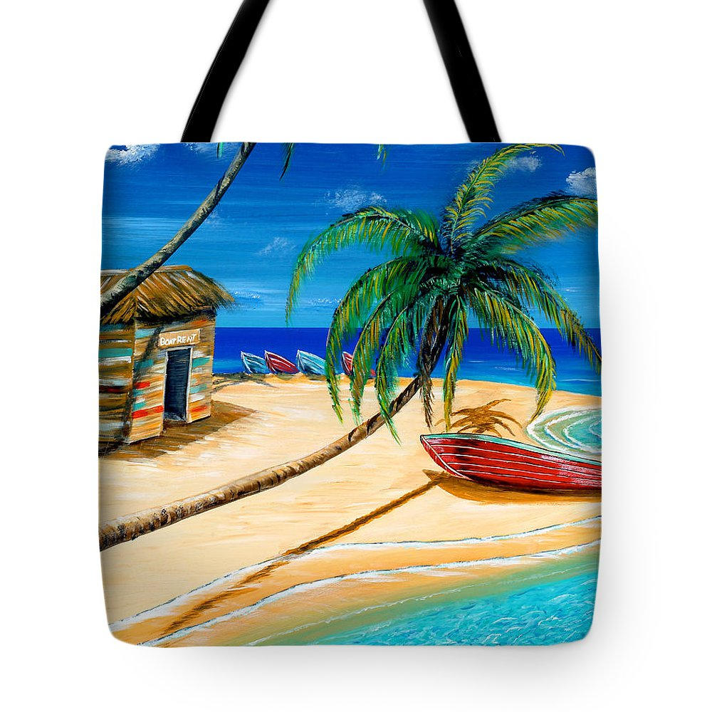 Landscape Tote Bag featuring the painting Boat Rent by Steve Ozment