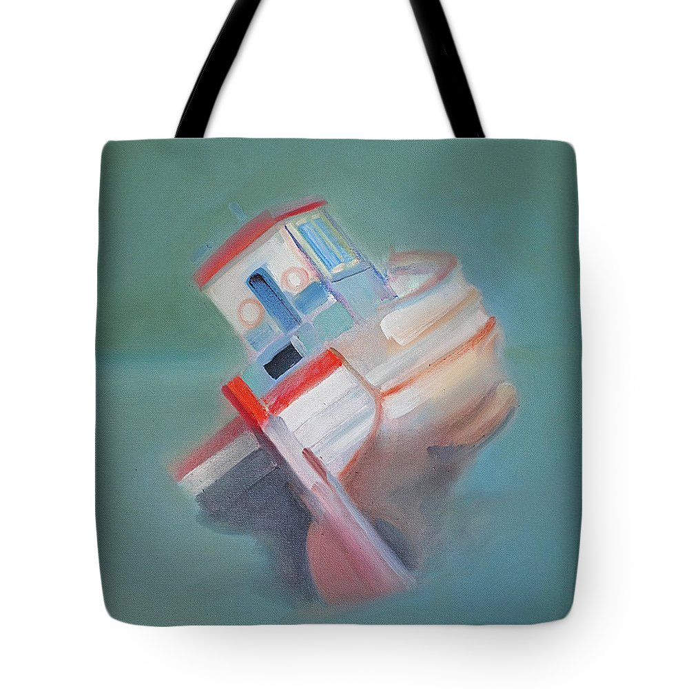 Fishing Boat Tote Bag featuring the painting Boat Retired Tavira by Charles Stuart